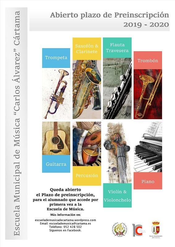 Plazo inscripción escuela música Cártama