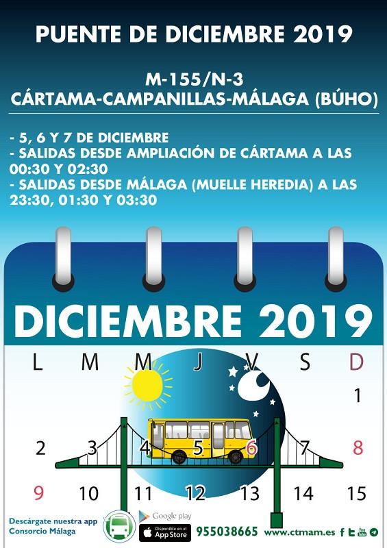Horario bus puente diciembre Cártama 2019