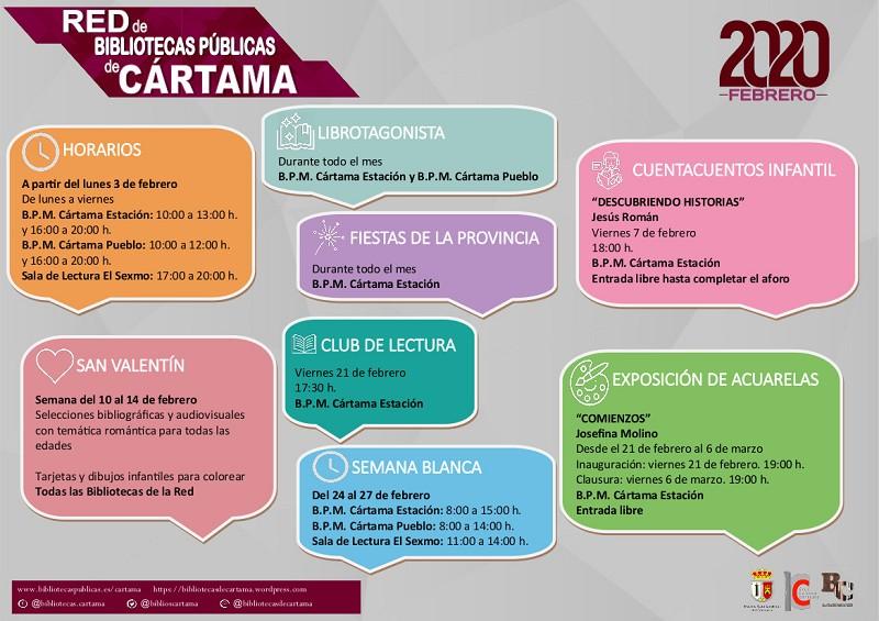 Calendario Bibliotecas Cártama Febrero 2020