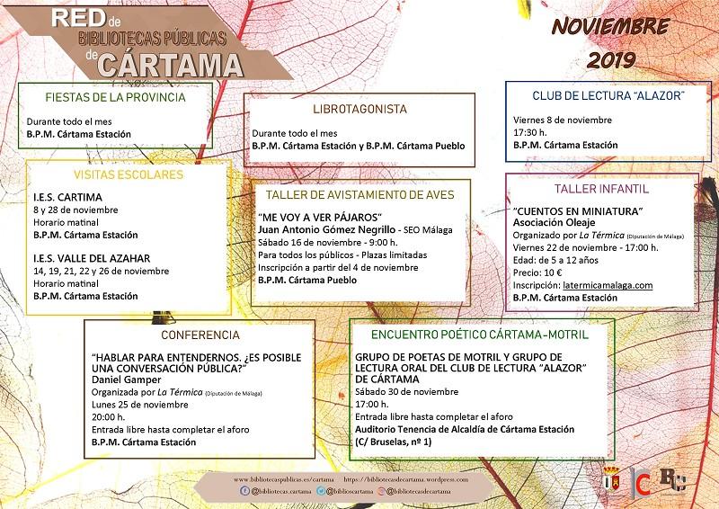 Calendario Bibliotecas Noviembre
