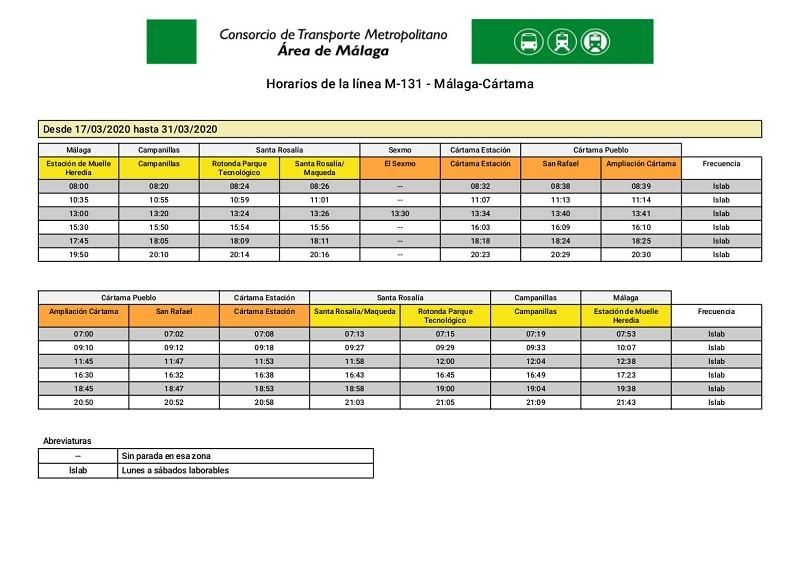 Horarios CTMAM Estado Alerta Coronavirus