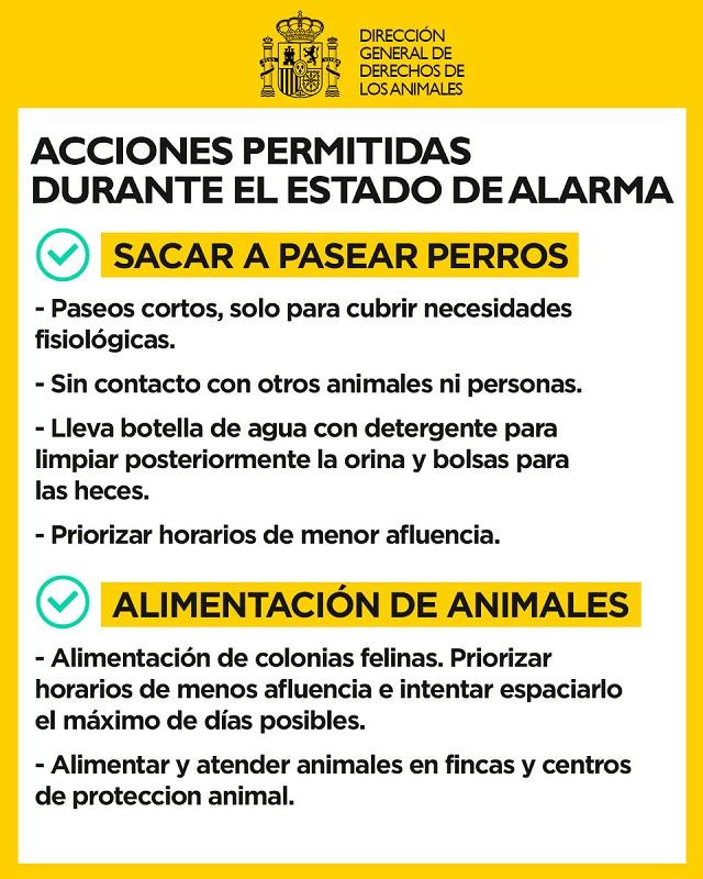 Acciones permitidas mascotas Estado de Alarma