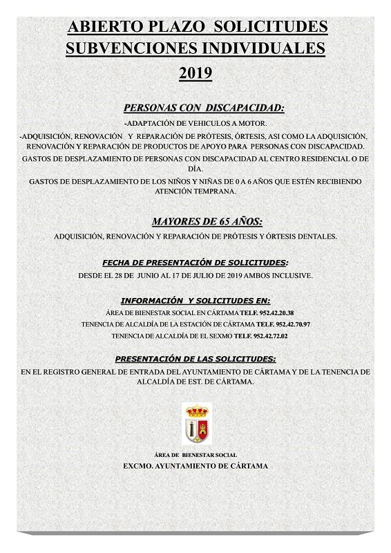 Solicitud subvenciones individuales Junta Andalucía 2019