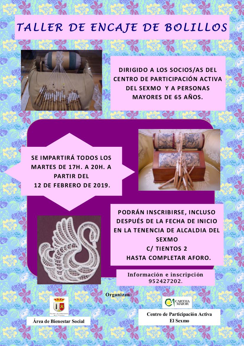 Cartel taller encaje de bolillos mayores Cártama feb 2019